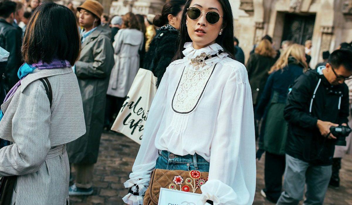 An interesting trend: high-collar blouses