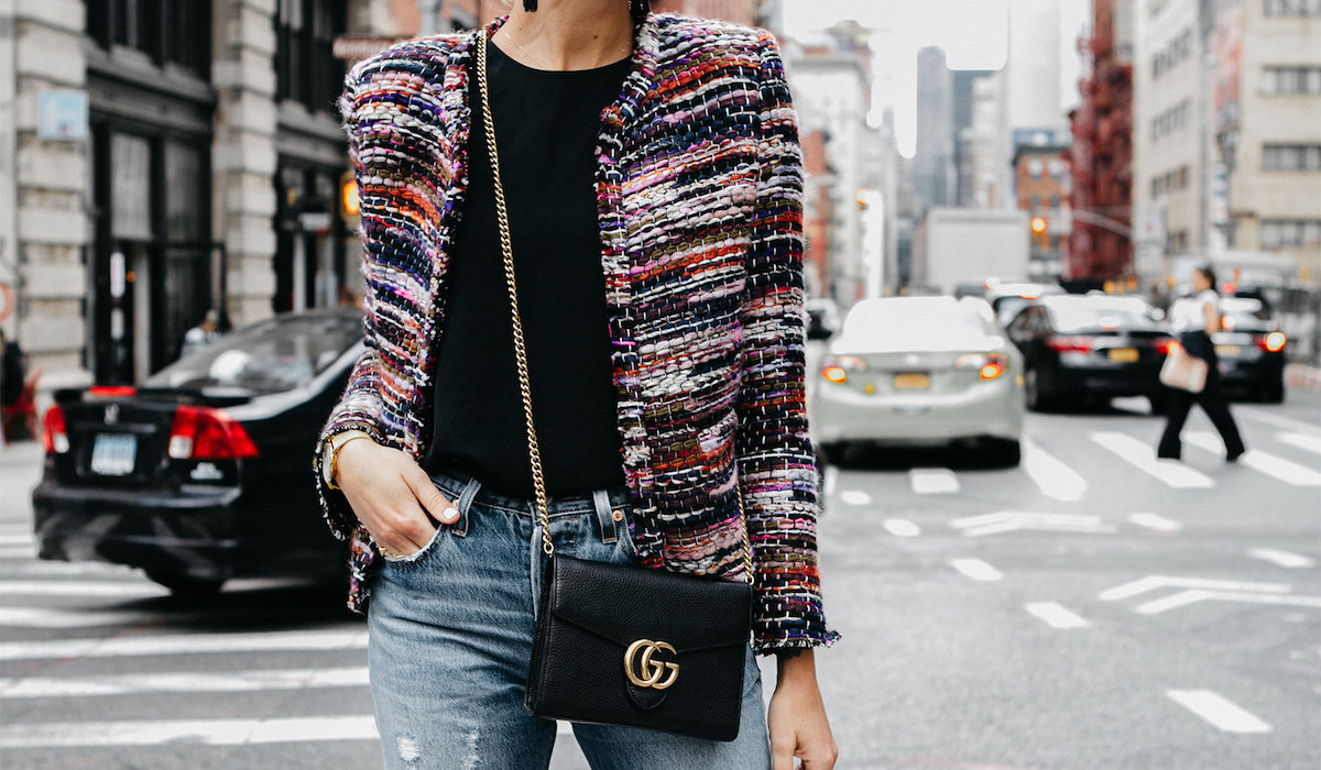 The bouclé jacket is trending right now