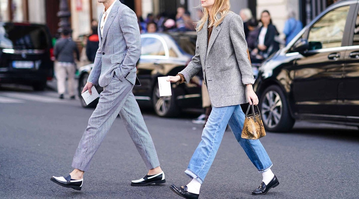 Slim loafers and fluffy coats for a cozy winter