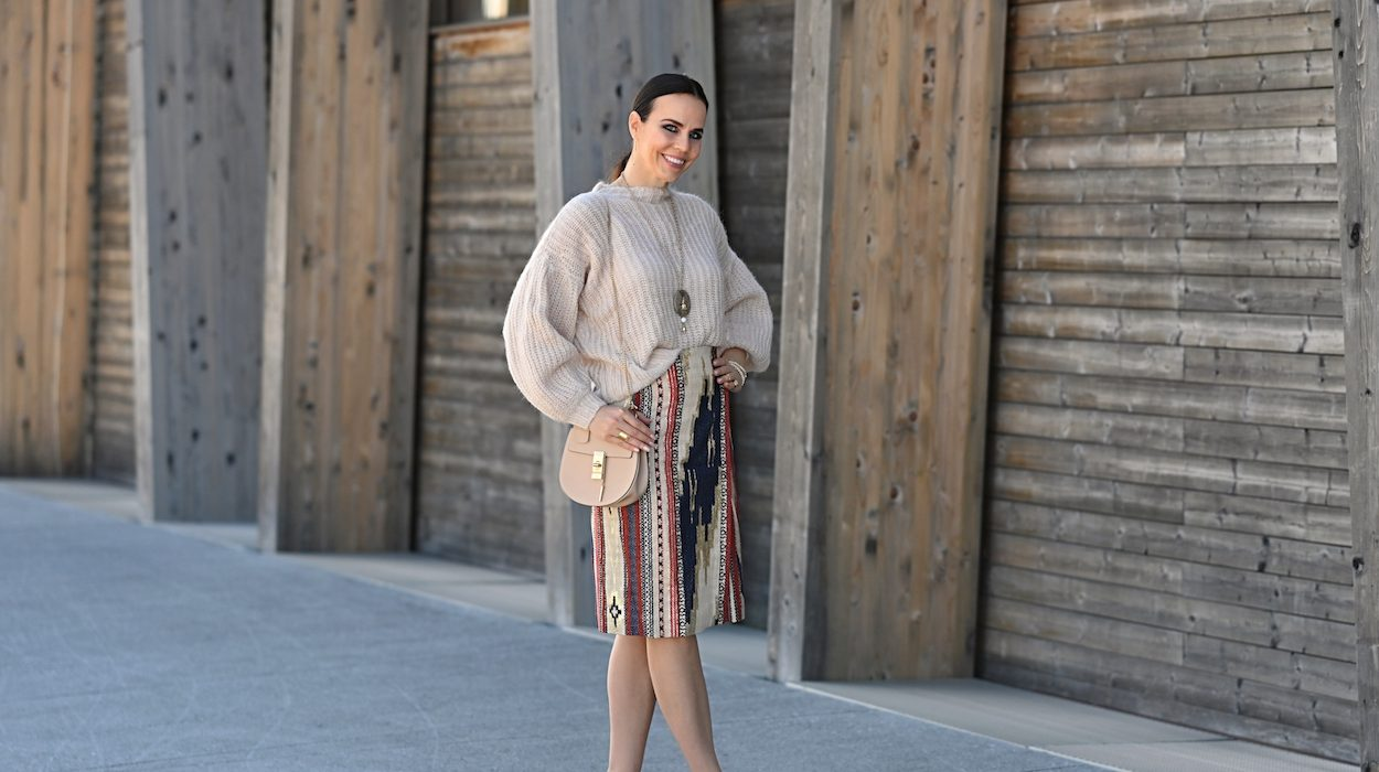 Style of the day: knitwear and a midi skirt